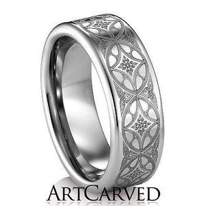 Mens Wedding Band Art Carved Citadel Size 10 Tungsten Carbide Ebay
