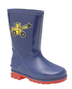 Boys-Toddler-Baby-Navy-blue-Tractor-Stormwells-Wellies-Wellington-Boots-3-to-10