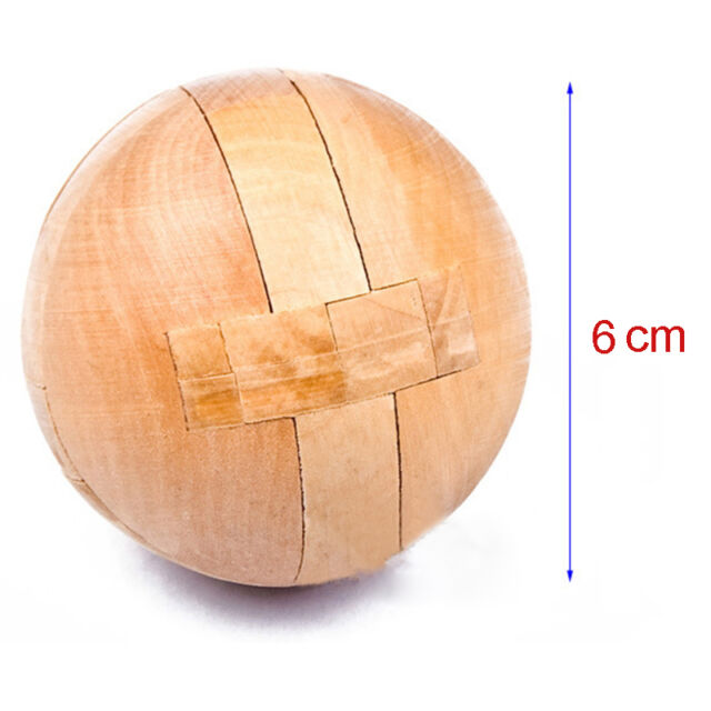 Old China Luban Lock Wooden Brain Teaser Puzzle Educational Toy Magic Ball