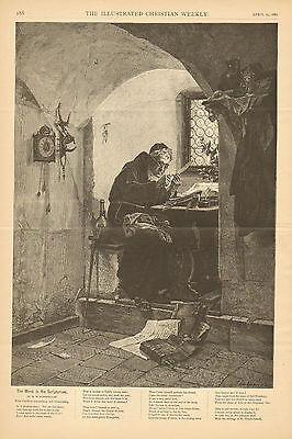 Monk, In Scriptorium, Scribe, Transcribing,  Illuminating, 1882 Antique Print.
