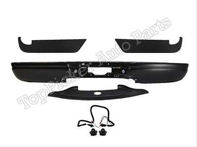 Black Rear Bumper Bar Top Pads Brackets 5Pc For 97-03 F150 Styleside Paintable