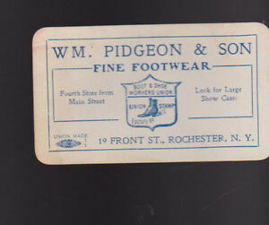 Wm pidgeon co fine footwear business card rochester ny front st image is loading wm pidgeon amp co fine footwear business card reheart Gallery