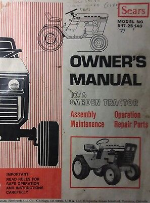 Sears Suburban 10/6 Lawn Garden Tractor Owner U0026 Parts Manual 917.25140 12/6  14/6 | EBay