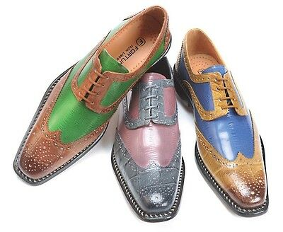 New Men's Liberty Leather Two Tone Wing Tip Croc/Ellskn Print Dress Shoes LS 827
