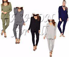 New Women Ladies Plain Choker Neck Tracksuit Easy Lounge Wear Leggings Set 8-26