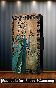 Walt-Disney-Princess-Elsa-Diva-Cartoon-Faux-Leather-Flip-Phone-Case-Cover-Y103