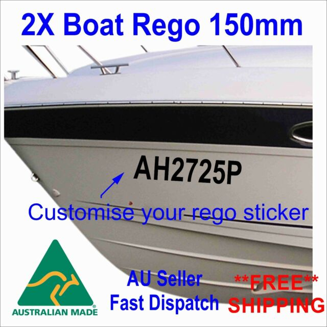 Boat Rego Sticker Personalized registration Number 150mm High Cast Vinyl 2Pcs