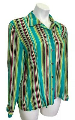 Austin Reed Silk Blouse Size 16 Green Striped Button Up Long Sleeve Euc Ebay