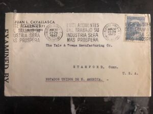 1942-Buenos-Aires-Argentina-Censored-Cover-To-Stamford-USA-Yale-Keys-Cachet