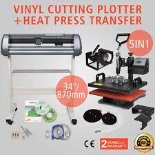 "5in1 Digital Heat Press Transfer Machine & 34"" Vinyl Cutting Plotter + Software"