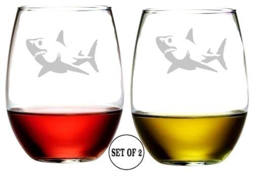 Stemless Wine Glasses Shark Set of 2 16 Oz Etched Engraved Lead-Free