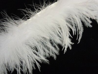 F801 PER FEET- New! White Ostrich+Turkey feather fringe Trim Fascinator Material