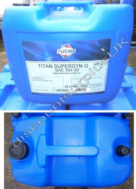 20l Fuchs Supersyn G Engine Oil SAE 5w-30 Garage BULK 5w 30 Petrol Diesel