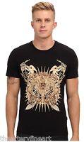Just Cavalli Uomo Men's Designer Gold Foil Graphic T-shirt S Black