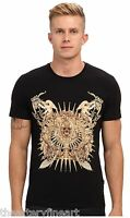 Just Cavalli Uomo Men's Designer Gold Foil Graphic T-shirt S Black