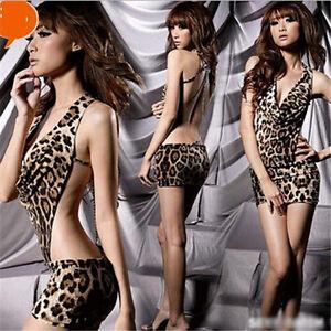 Tiger-Sexy-Lingerie-Hot-Halter-Leopard-Open-Bra-Costumes-Erotic-Underwear-N
