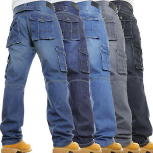 Mens-Cargo-Combat-Jeans-New-Casual-Work-Heavy-Denim-Limited-Time-Special-Offer