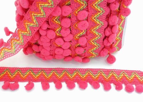 Zigzag Rose Pink SMALL Pompom Fringe Trim Curtain Drapes Sewing Embellishments