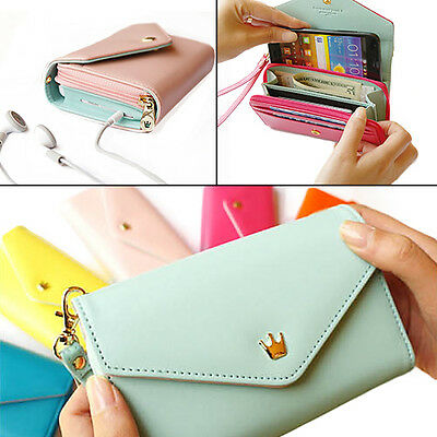 WOMEN GIRL CANDY COLOR UTILITY ENVELOPE WALLET PURSE PHONE CASE FOR IPHONE 5/4S