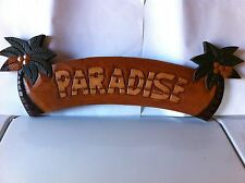 """HOME DECOR PALM TREE SIGN /""""PARADISE/"""" HAND CARVED NEW!"""