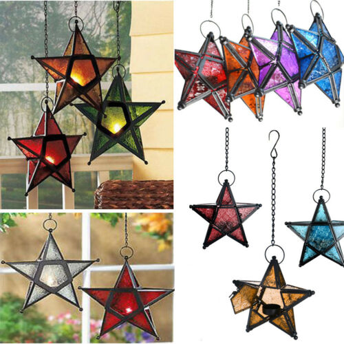 Moroccan Style Hanging Glass Metal Star Candle Holder Lantern Home Party Decor