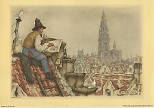 Rooftop Artist Anton Pieck Print 1968 Printed in Holland  Excellent Condition