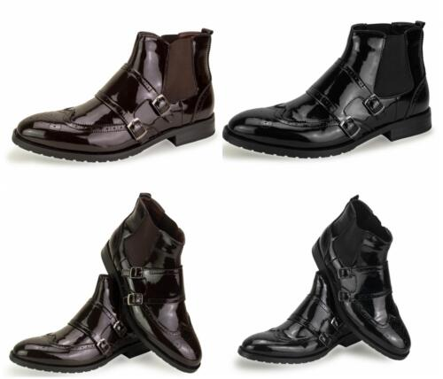 Mens Double Monk Buckle Strap Casual Formal Work Office Boots Size 6 7 8 9 10 11