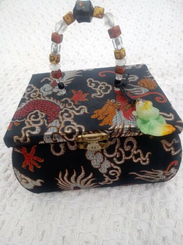 Silk Chinese Box Purse with Embroidered Dragon.