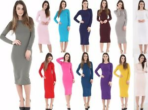 WOMENS-LADIES-LONG-SLEEVE-MIDI-DRESS-STRETCH-BODY-CON-PLAIN-JERSEY-MAXI
