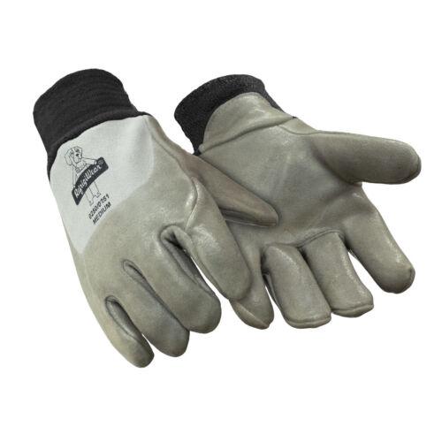 RefrigiWear Insulated Deerskin Leather Nitrile Coated Fleece Lined Gloves SZ MED