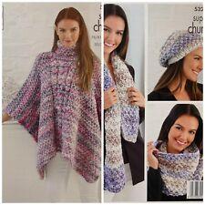 Ladies mega super chunky cable aran poncho knitting pattern 99p