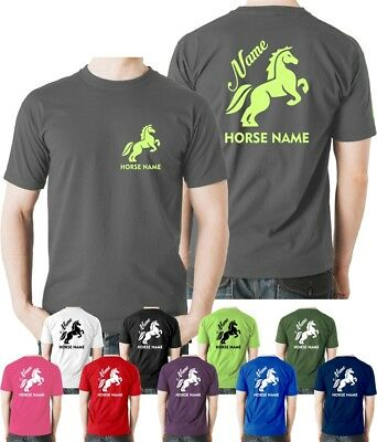 PERSONALISED HORSE RIDING PRINTED ADULTS /& KIDS T-SHIRT T SHIRT TEE UNISEX TOPS