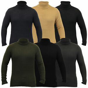 Mens-Jumper-Soul-Star-Knitted-Polo-Neck-Waffle-Pullover-Sweater-Casual-Winter