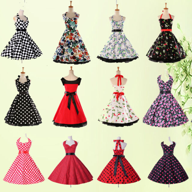 50s 60s Vintage Swing Pinup Prom Party Housewife Dance Ball Dress