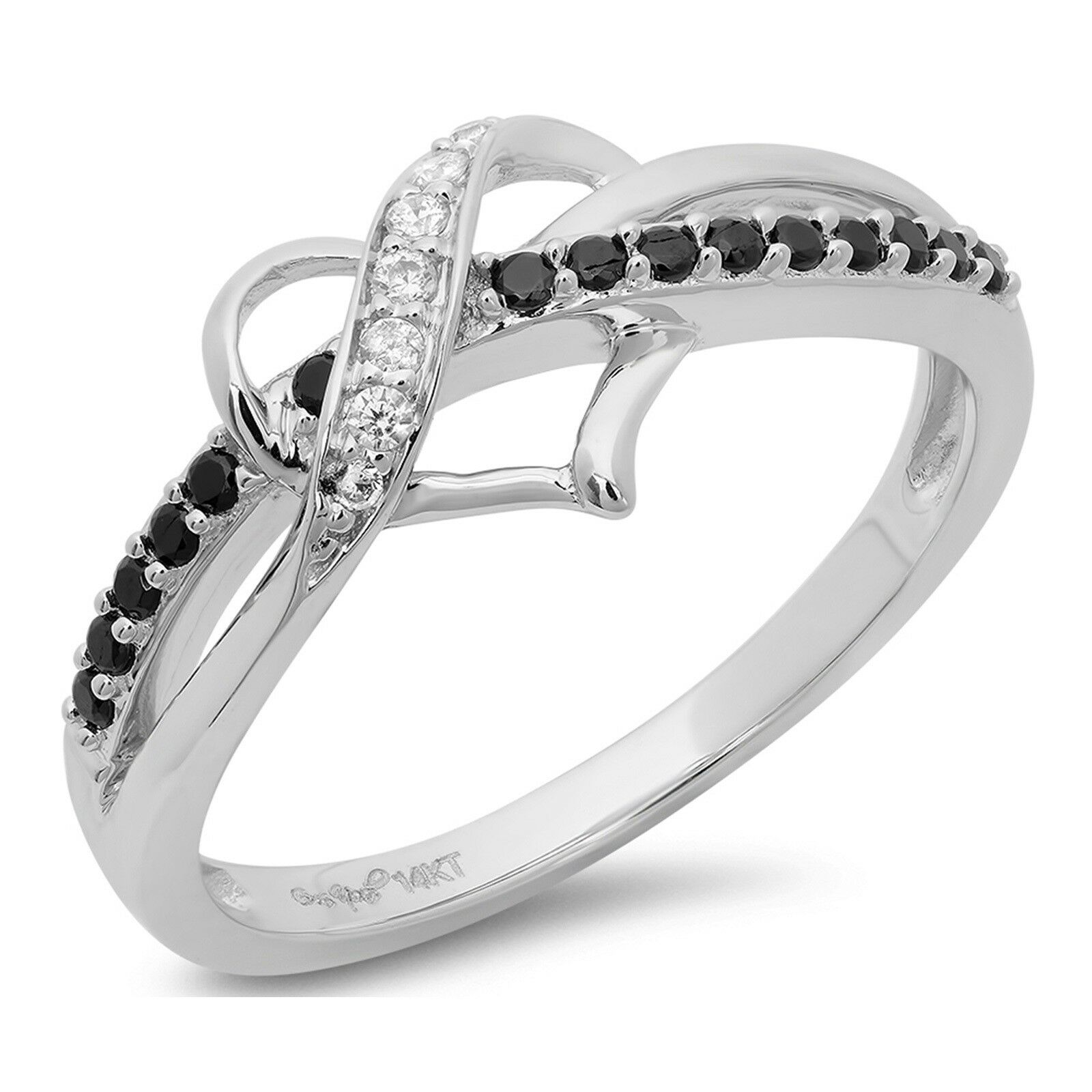 0.2ct Round Cut Heart Solitaire Promise Anniversary Ring Solid 14k White gold