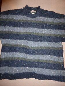 CELTIC-COUNTRY-Ireland-Wool-Aran-Fisherman-Turtleneck-Irish-Sweater-Mens-L-Large