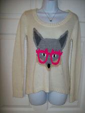 LEI Medium 4 6 8 10 3 5 7 9 Wolf wearing Hot Pink granny Sunglasses Sweater Top