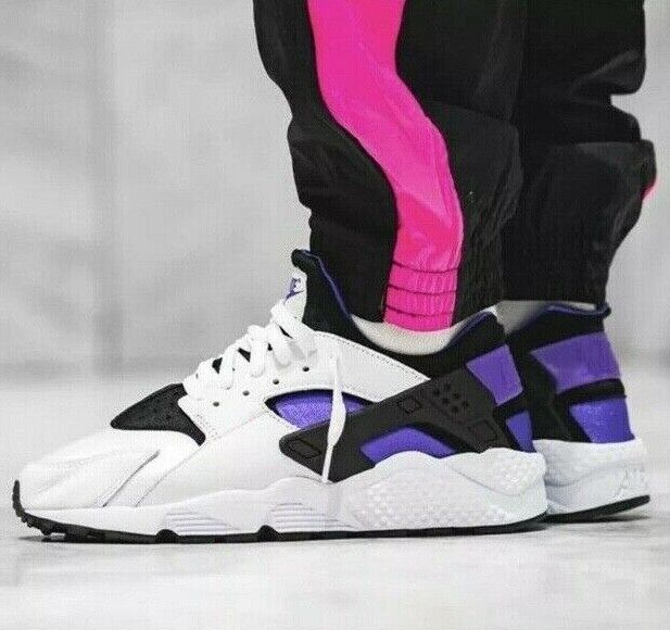 lace up in official site cute Nike Air Huarache Run 91 QS OG White Black Purple Men Size 9.5