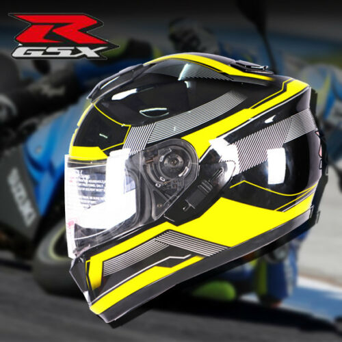 GSX R Motorcycle Helmet Double Lens Full Face DOT Racing Helmet 55-59CM Colorful