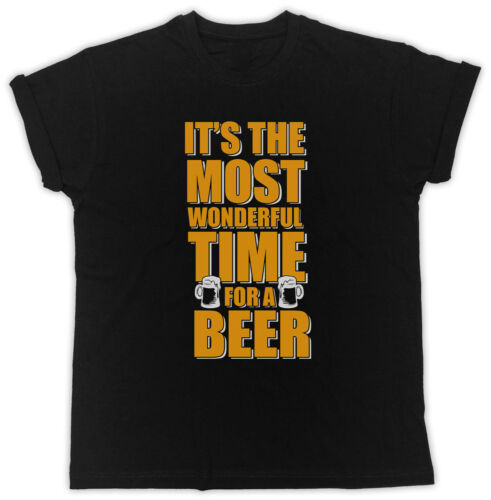 IT/'S THE MOST WONDERFUL TIME FOR A BEER SLOGAN IDEAL GIFT UNISEX BLACK T-SHIRT