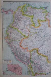 1919-MAP-SOUTH-AMERICA-NORTH-WEST-PANAMA-COLOMBIA-ECUADOR-BRAZIL-PERU-LIMA