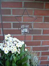 Teelichthalter Stern für Haus & Garten Weihnachtsstern aus Metall inkl. Glas !
