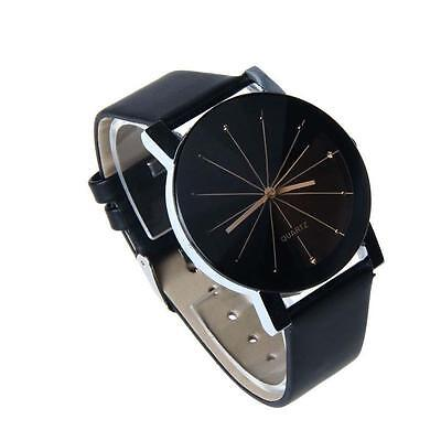 Fashion Men Women Stainless Steel Leather Band Quartz Analog Wrist Watches B WT