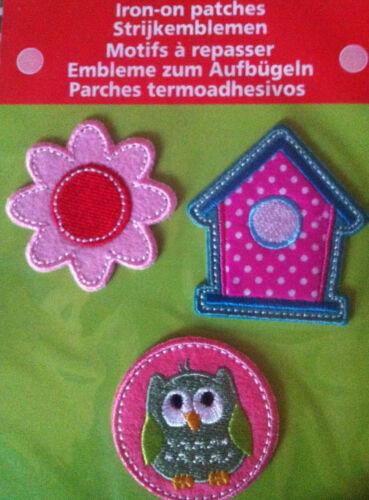 Parches perchas imágenes emblemas para plancha decorativas-figuras lechuza flor casa de pájaro