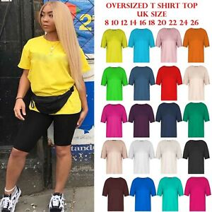 Plus-Size-Tee-Ladies-Womens-Stretchy-Jersey-Casual-Oversized-Baggy-T-Shirt-Top