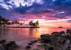 Tropical Beach At Sunset Landscape Art Large Poster Prints