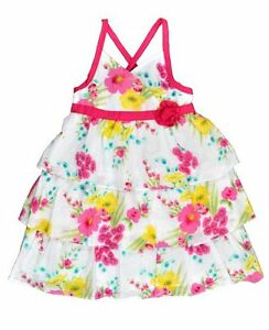 Girls-BNWT-White-Hot-Pink-PMFloral-Ruffled-Layered-Summer-Party-Dress-Size4-5-6