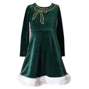 NWT-Girls-Size-6-Bonnie-Jean-Sparkly-Sequin-Bow-Green-Velvet-Dress-Holiday-Xmas
