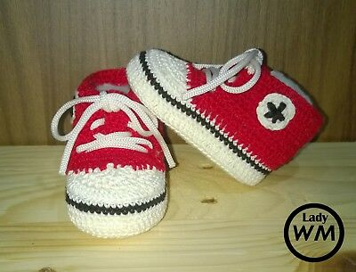 scarpine scarpette neonato bambino bambina converse all star uncinetto 3 6 mesi | eBay