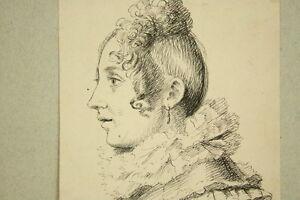 Junge-Frau-im-Seitenprofil-Tintenzeichnung-um-1900-Drawing-Portrait-Antique
